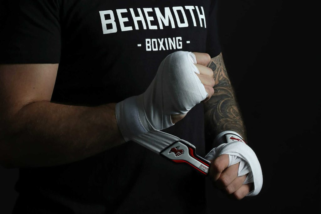 Behemoth Boxing white handwraps on model