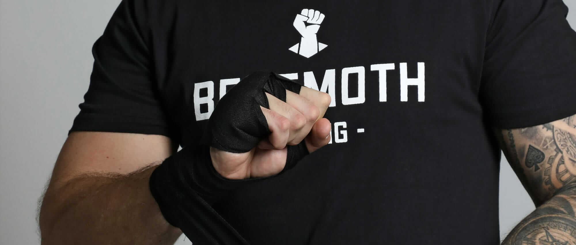 Black boxing hand wraps on model