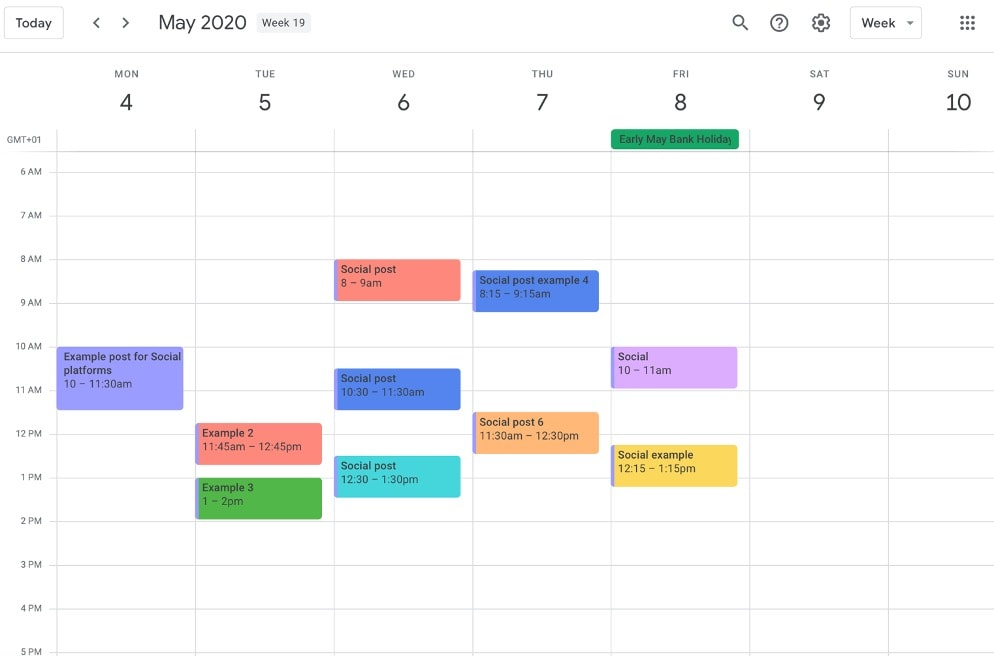 Social media scheduling on Google calendar