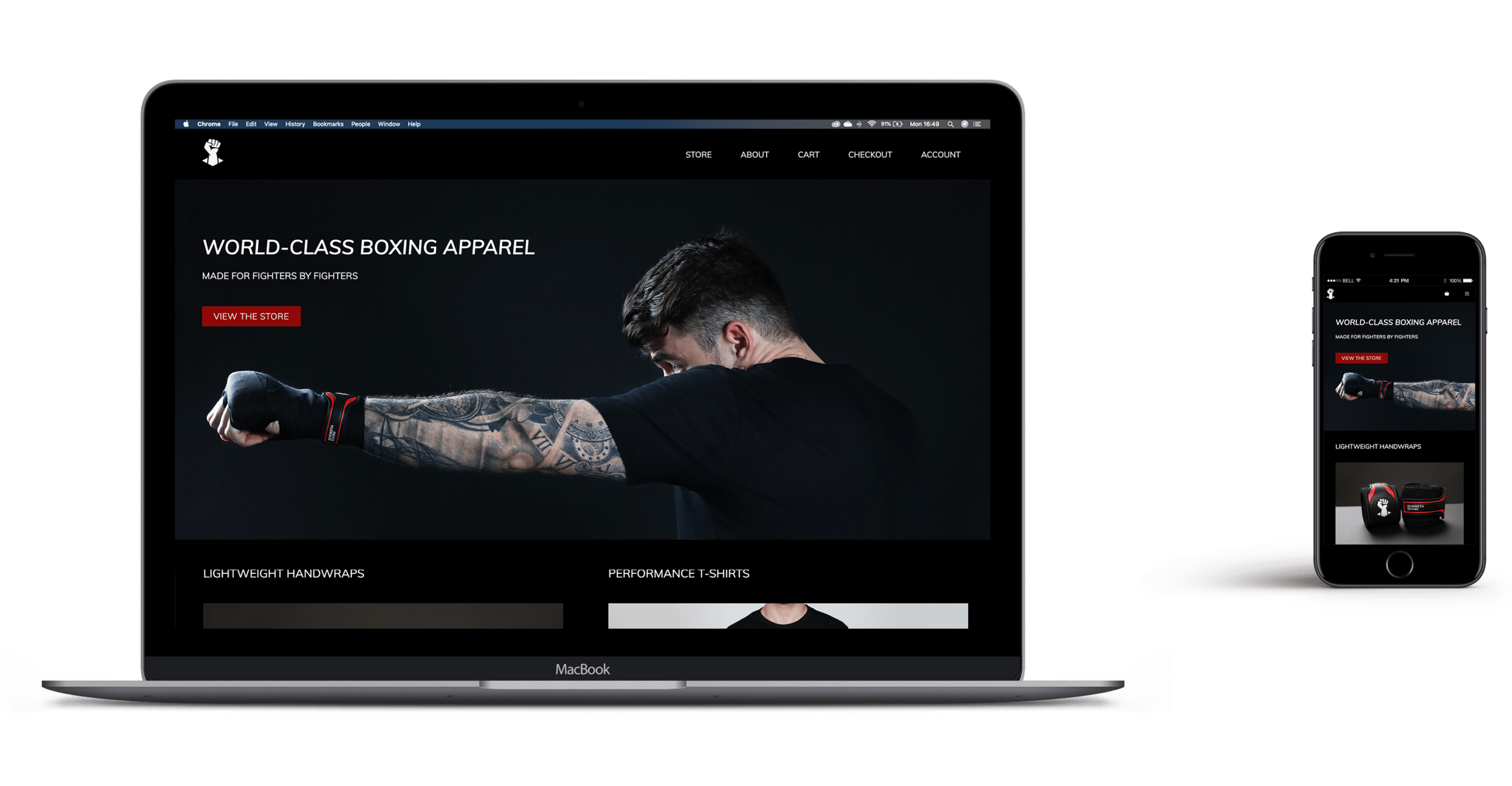 Website design and development for Behemoth Boxing