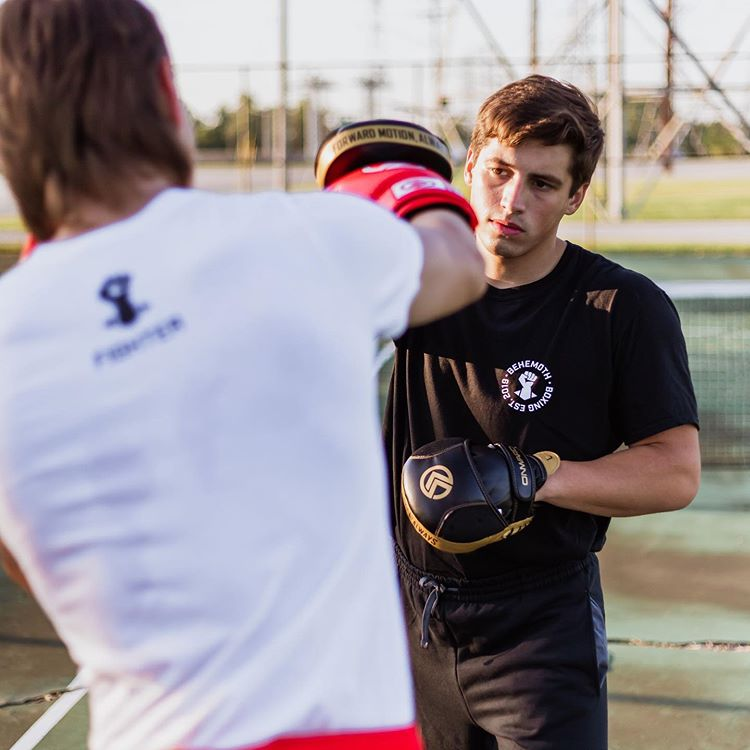 Boxers Sparring with branded t-shirts