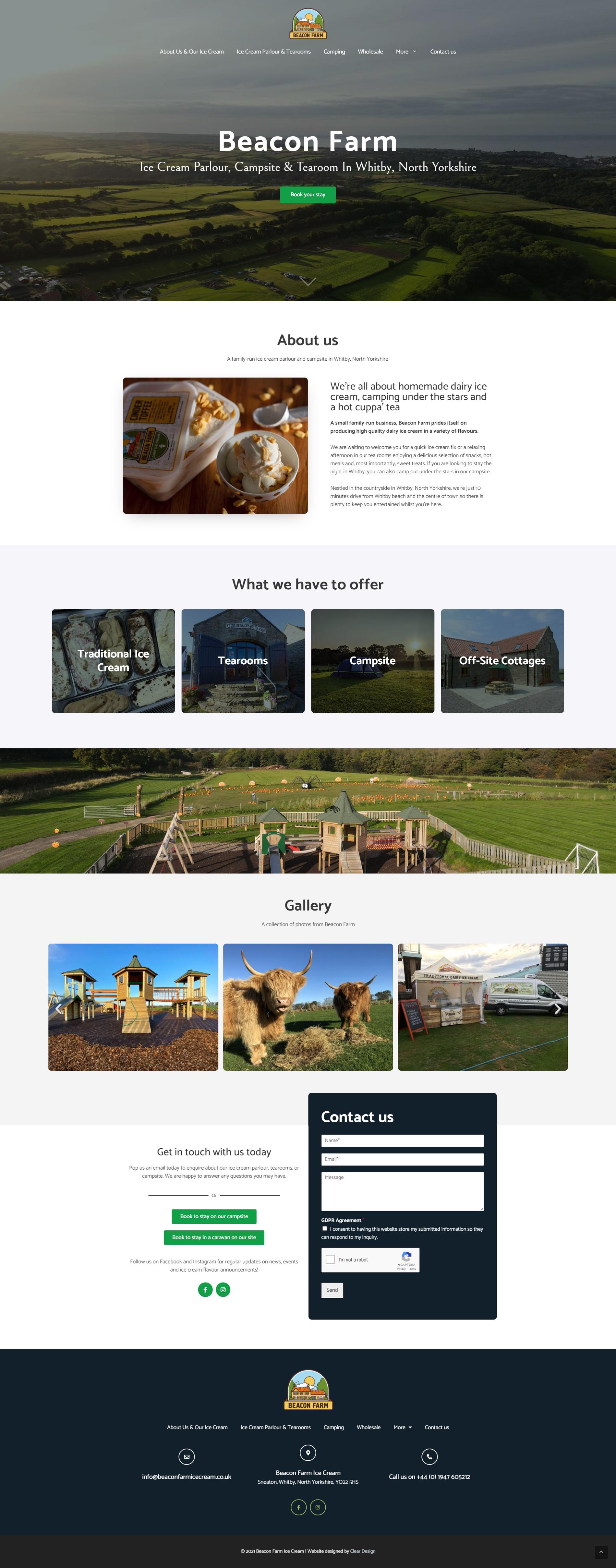 Ice Cream Parlour and Campsite Website Design | Clear Design