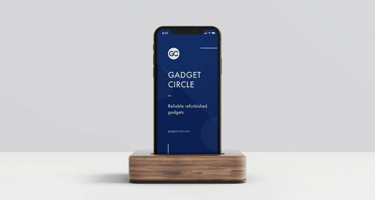 Gadget circle iPhone X mockup using dark blue colour scheme