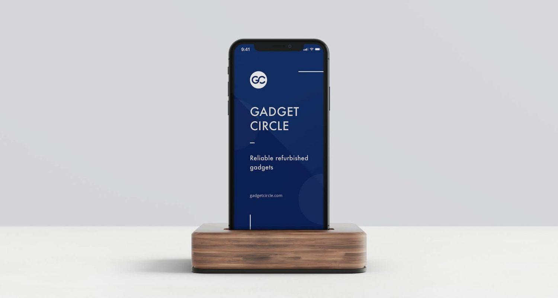 Gadget circle iPhone X mockup using dark blue colour scheme