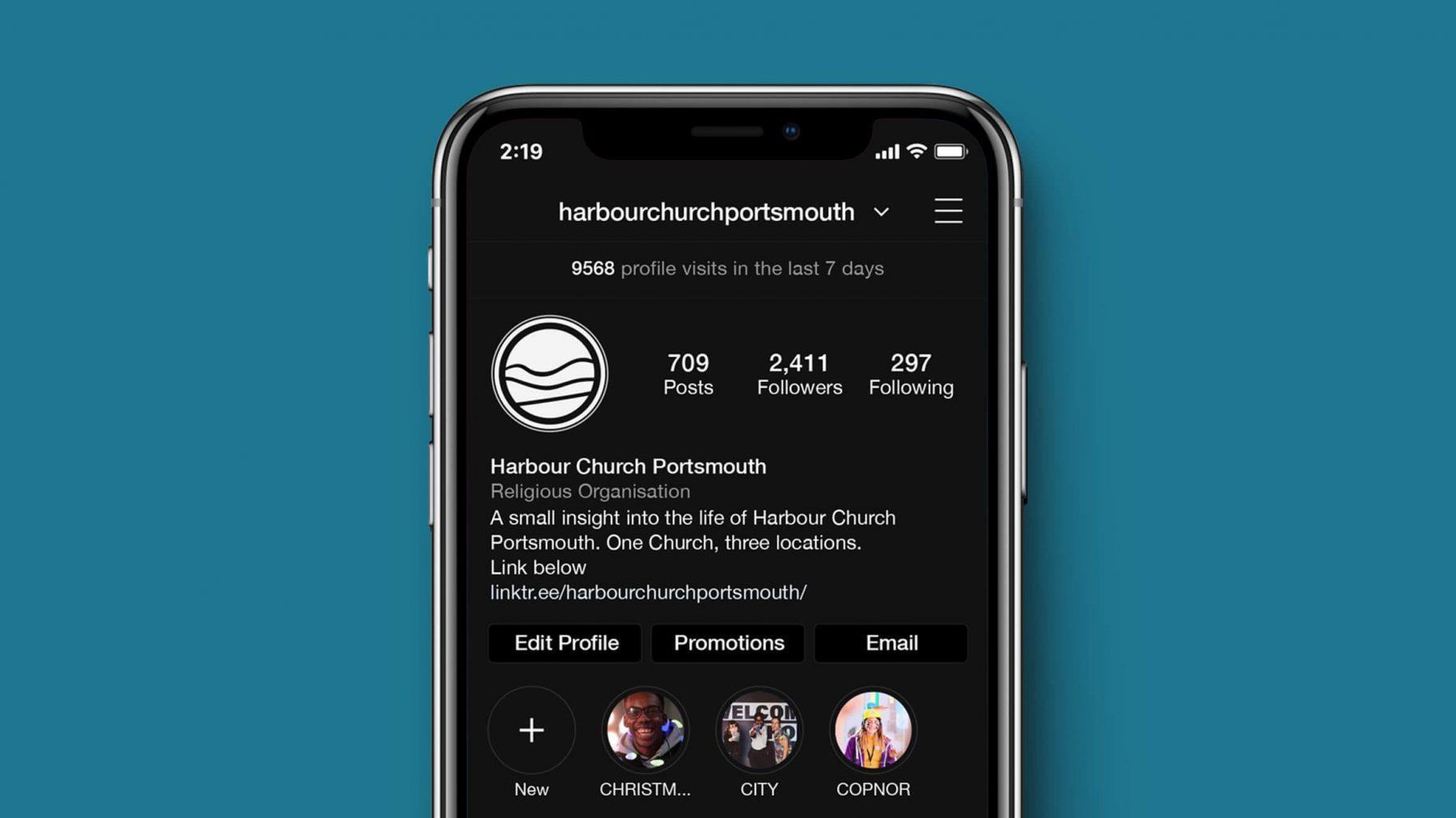 Harbour Church Instagram account branding
