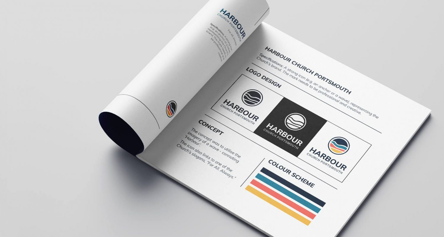 Harbour Church Portsmouth brand design. Brand guidelines shown in smart brochure mockup.